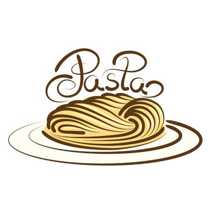 chinese fast food: Pastas vector con la inscripci�n caligr�fica