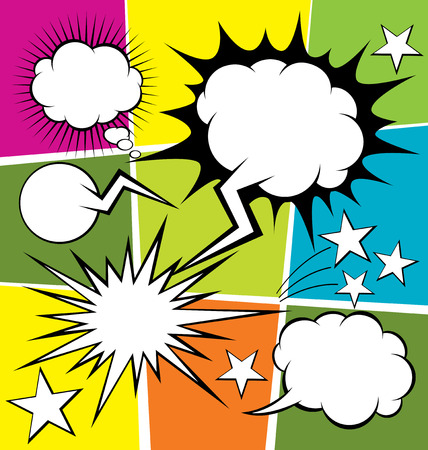 vector set van strips stijl spraak en dacht bubbels
