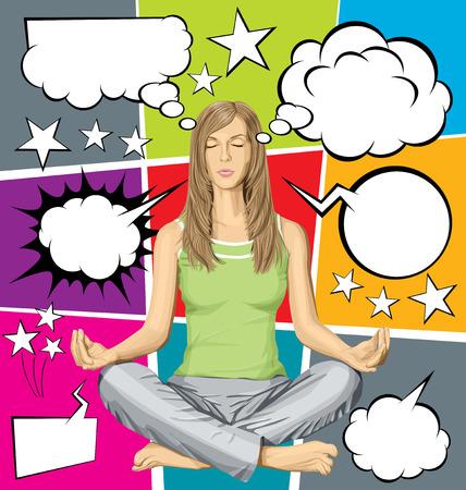 pensando: Vector mujer meditando en posici�n de loto, y conjunto de vectores de expresi�n c�mics estilo y burbujas de pensamiento Vectores