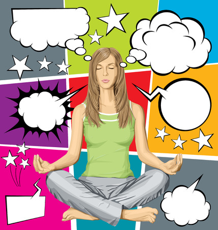 thinking: Vector woman meditating in lotus pose, and vector set of comics style speech and thought bubbles