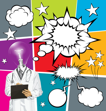 Vector doctor man writing something with marker on clipboard, with speech and thought bubbles Vector