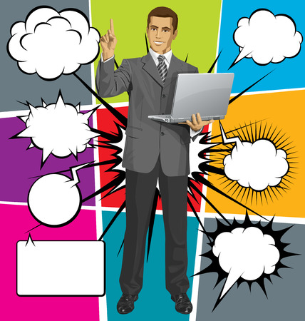 Idea concept. Vector business man shows something with his finger, with speech and thought bubbles