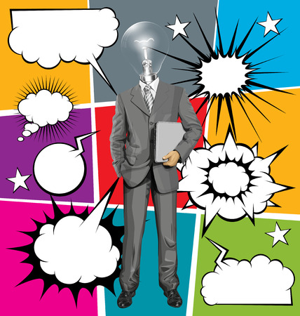 chatter: Vector business man in suit with laptop in his hands, with speech and thought bubbles Illustration