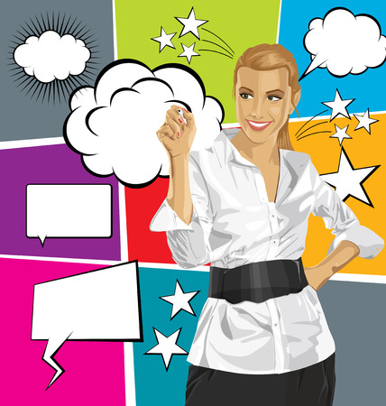 Idea concept. Vector Business woman writing something, with speech and thought bubbles Illustration