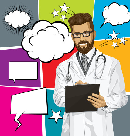 Vector hipster doctor man writing something with marker on clipboard, with speech and thought bubbles Vector