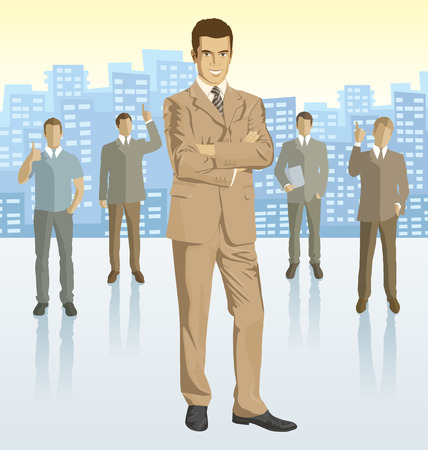 headhunter: Vector business man with silhouettes of business people, with transparency shadows and city