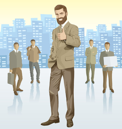 financial managers: Vector business man with silhouettes of business people, with transparency shadows and city