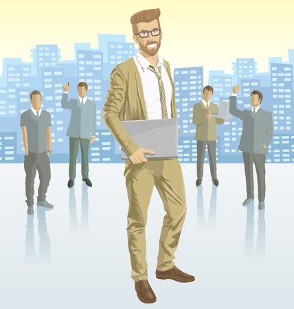 employing: Vector business man with silhouettes of business people, with transparency shadows and city