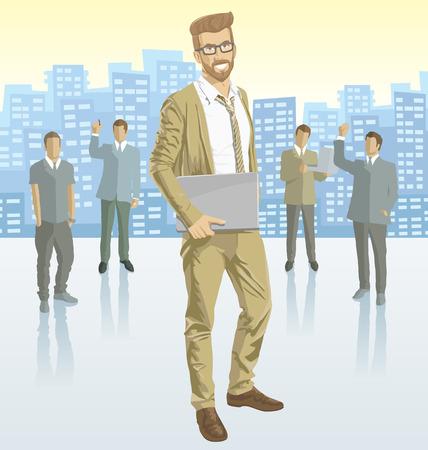 headhunter: Vettore uomo d'affari con sagome di uomini d'affari, con le ombre di trasparenza e la citt� Vettoriali