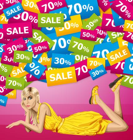 lies: Vector fashion blonde in pink dress lies on a floor