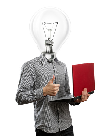 well head: lamp head man with laptop in his hands shows well done