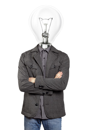 folded hands: lamp head man in suit, looking on camera, with folded hands Stock Photo