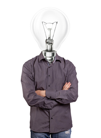 folded hands: lamp head man, looking on camera, with folded hands