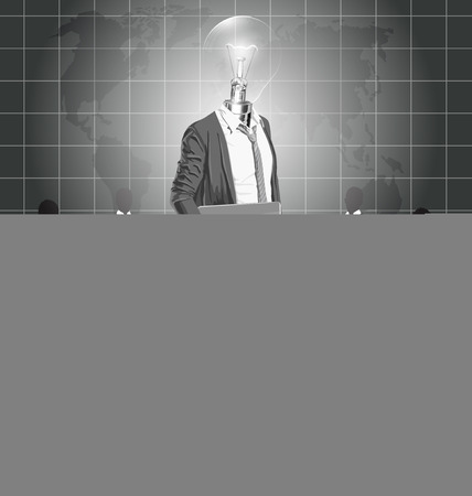 well head: Vector Idea and concept. Lamp head business man with laptop in his hands. All layers well organized and easy to edit