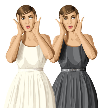 looking: vector girl in dress, surprised and looking up