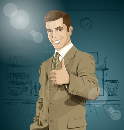 well done: Vector hipster business man shows well done Illustration
