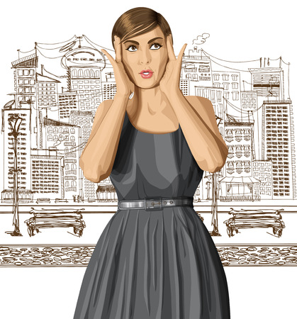 fashion sketch: vector girl in dress, surprised and looking up, walking by the city