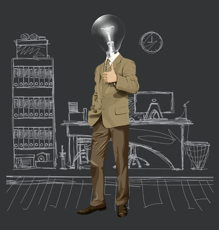 well head: Vector hipster lamp head business man have an idea and shows well done Illustration