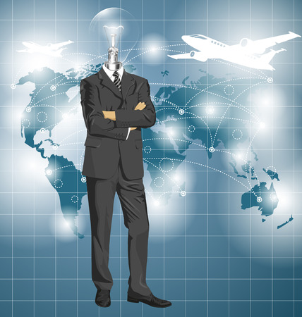 folded hands: Vector Idea and travel concept, Lamp head business man in suit. All layers well organized and easy to edit