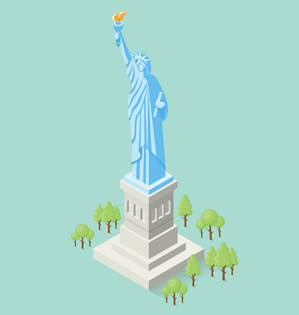 monument: 3d flat isometric monument of Statue of Liberty in USA