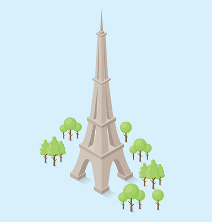 monument: 3d flat isometric monument of Eiffel Tower in Paris