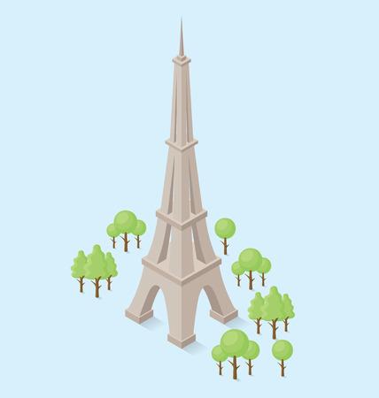 eiffel: 3d flat isometric monument of Eiffel Tower in Paris