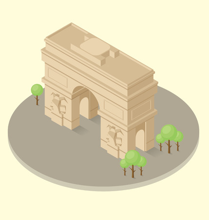 triumphal:  3d flat isometric monument of triumphal arch in Paris Illustration