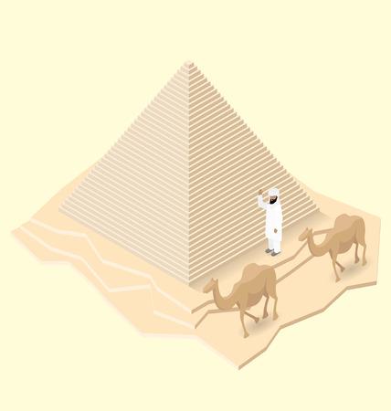 camello: 3d pirámide egipcia isométrica plana con camellos y beduinos