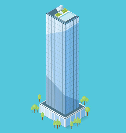 office building: 3d flat isometric office building with trees