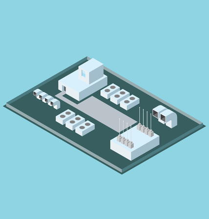 air conditioner:  3d flat isometric office building roof with air conditioner