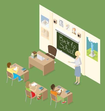 maestro: Concepto de educaci�n. Isom�trica plana 3d con el maestro, el aula y los estudiantes Vectores