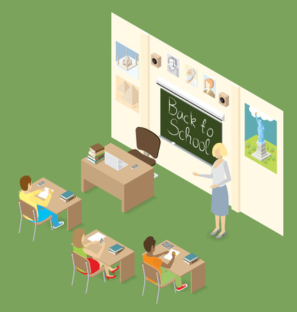 Education Concept.  3d flat isometric with teacher, classroom and students Illustration
