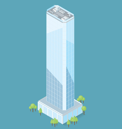 3d flat isometric office building with trees