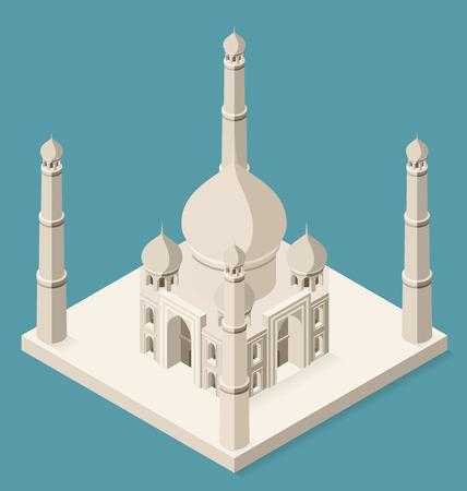 mahal:  3d flat isometric Taj Mahal on blue Illustration