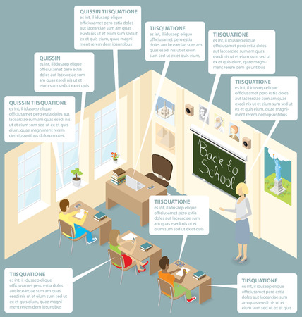 students in classroom: Education Concept.  3d flat isometric with teacher, classroom and students Illustration
