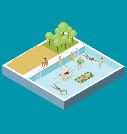 personas: Piscina de agua concepto de diversi�n. 3d encuesta isom�trica plana con la gente se divierte Vectores