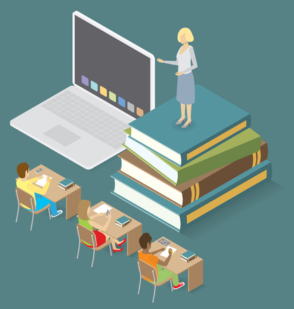 education concept: Education Concept.  3d flat isometric with teacher, classroom and students Illustration