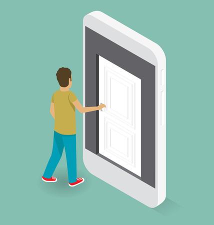 opening door: Education Concept. Door to the knowledge. 3d flat isometric with student is opening the door