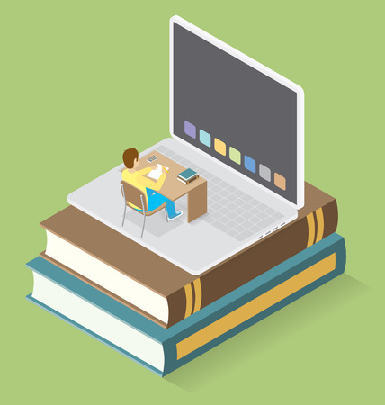students in class: Education Concept. 3d flat isometric with teacher, classroom and students