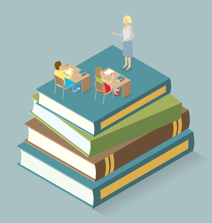 classroom teacher: Education Concept.  3d flat isometric with teacher, classroom and students Illustration