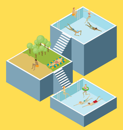 poll: Water pool fun concept.  3d flat isometric poll with people are having fun