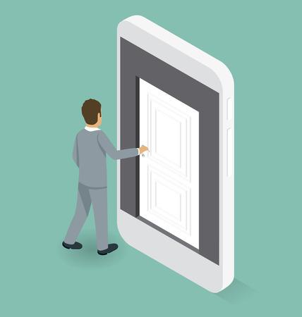 big business: Concepto de inicio. Puerta al conocimiento. Isom�trica plana 3d con el empresario est� abriendo la puerta a las grandes empresas Vectores