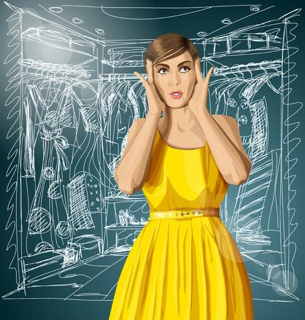 vector chica en el vestir, sorprendido y mirando hacia arriba, feliz de hacer compras