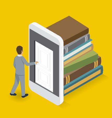 opening door: Startup Concept. Door to the knowledge. 3d flat isometric with businessman is opening the door to big business Illustration