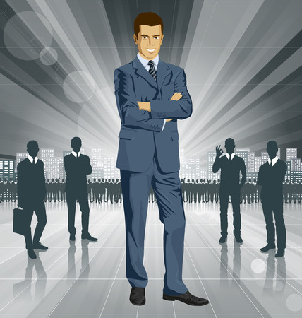 organized: Vector business man in suit with folded hands. All layers well organized and easy to edit Illustration