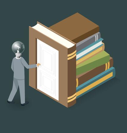 opening door: Knowledge Concept. Door to the knowledge. Vector 3d flat isometric with businessman is opening the door to big business Illustration