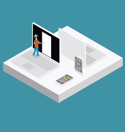 door opening: Education Concept. Door to the knowledge. Vector 3d flat isometric with student is opening the door Illustration