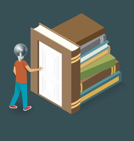 opening door: Knowledge Concept. Door to the knowledge. Vector 3d flat isometric with student is opening the door