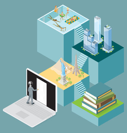 the encyclopedia: Internet Concept. Vector 3d flat isometric with door to the internet knowledge and encyclopedia