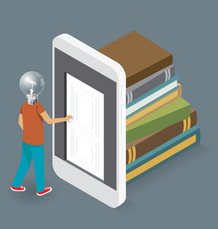 knowledge concept: Knowledge Concept. Door to the knowledge. Vector 3d flat isometric with student is opening the door